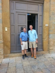 <p>James Timberlake and Will Wittig in front of the Volterra International Residential College<br> Photo Credit: Wladek Fuchs</p>