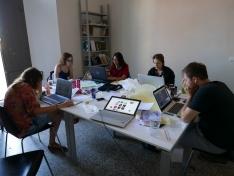 <p>Team 1 at work <br> Photo Credit: Jan Slyk</p>