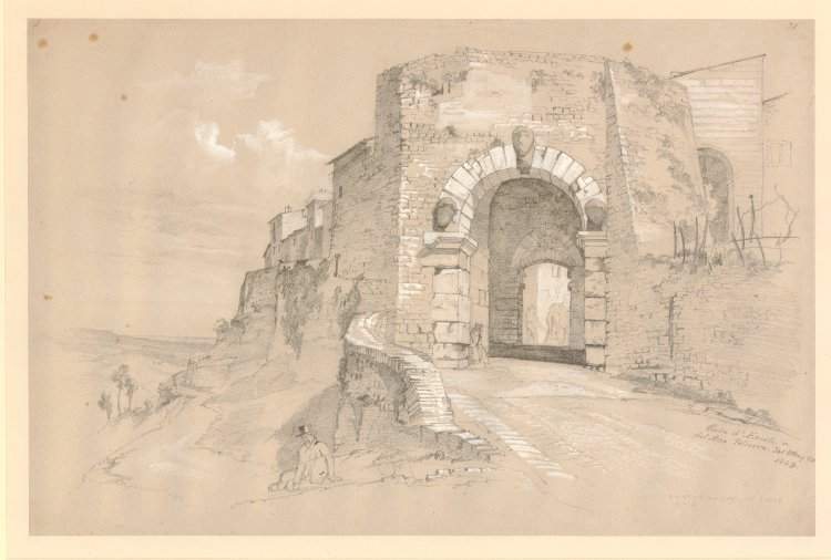 "Drawing signed: ""Porta d'Ercole. or/del Arco. Volterra. Sat May 20/1843."" and inscribed with numbers: ""3"" and ""21"";"