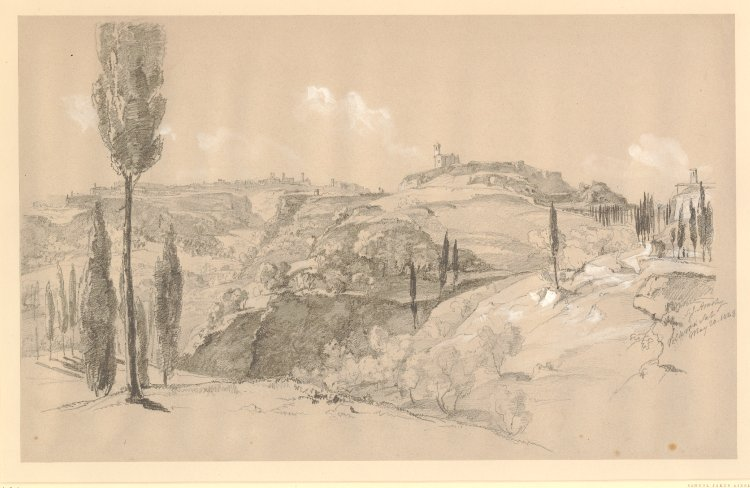 "Drawing signed, inscribed and dated: ""S.J. Ainsley Volterra Sat May 20. 1843"""