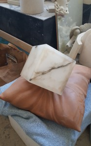 Alabaster Box indenting a Cushion, An example of mixed media and materials.