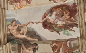 Michelangelo's painting Creation of Adam, on the Sistine Chapel Ceiling.