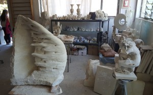 The piece on the left is to become a Kinetic Wind Sculpture, It is being sculpted out of limestone.