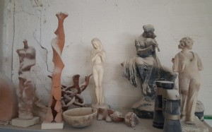 A Mixture of Materials within Velio's Sculptures.