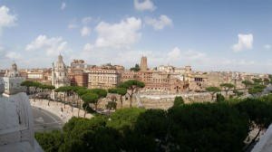 View of Trajan's Forum, The Panoramic extends from Trajan's Column to the Colosseum.