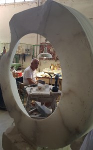 Velio is seen through one of Sculptures in progress.