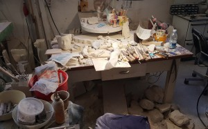 Velio's Workdesk. Look at all that beautiful alabaster dust!