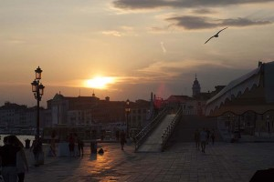 Sunset over the city of Venice