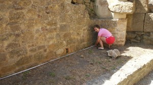 A Student measuring a wall of the Site.